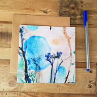 Card - Blue Watercolour Flower