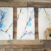 Moonlit Meadow Ceramic Wall Hanging Tiles Triptych
