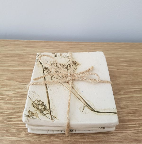 Set of 4 Square Wild Meadow Ceramic Coasters