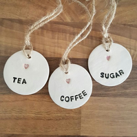 Tea, Coffee & Sugar Ceramic Tags