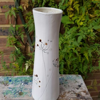 Tall Elegant Cow Parsley Ceramic Vase with berries