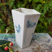 Lilac & Mint Green Flowers Pentagonal Ceramic Vase