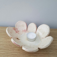 Subtle Pink Ceramic Petal Bowl