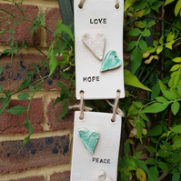 Love, Hope, Peace, Joy Ceramic Wall Hanging