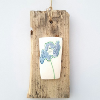 Mixed Media Wall Hanging – Mint & Lilac Flower
