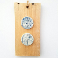 Mixed Media Wall Hanging - Floral Round Charms