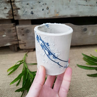 Sea Line Ceramic Bud Vase