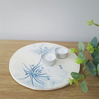 Blue Thistles Ceramic Tea Light Plate