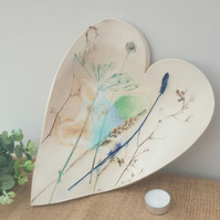 Large Ceramic Botanical Heart Bowl