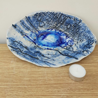 Blue Textured Oval Ceramic Dish