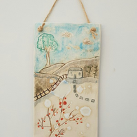 'Countryside Cottage' Ceramic Wall Hanging