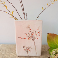 Red Berries Rectangular Ceramic Vase
