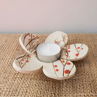 Red Berries Ceramic Tea Light Holder