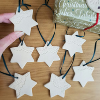 Ceramic Star Hanging Decoration impressed with lace