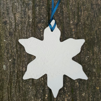 Ceramic Snowflake Decoration impressed with lace