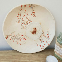 Round Ceramic Red Berries Dish