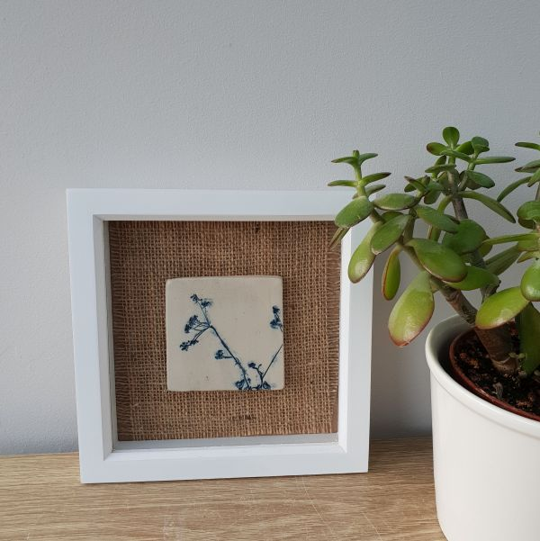 Framed Ceramic Botanical Tile – Delicate Blue Flowers