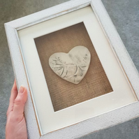 Grey Heart Tile in Shabby Chic White Washed Frame