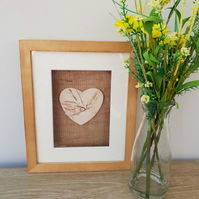 Framed Ceramic Natural Heart Tile