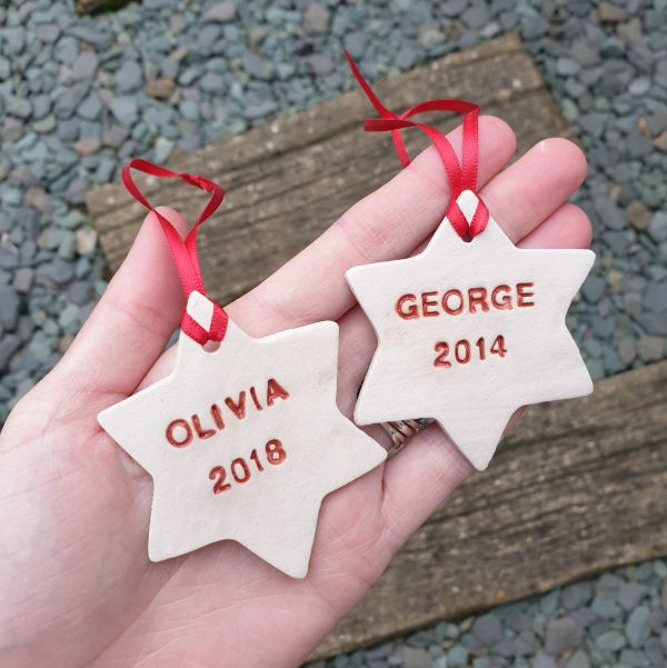 Personalised Star Decoration with Red Text & Ribbon