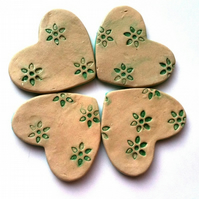 Set of 4 Ceramic Lily Heart Coasters