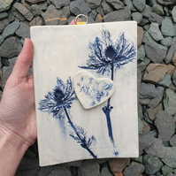 Blue Thistles Ceramic Wall Hanging with 3D Heart