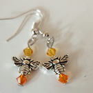 Silver bumble-bee earrings with Swarovski crystals
