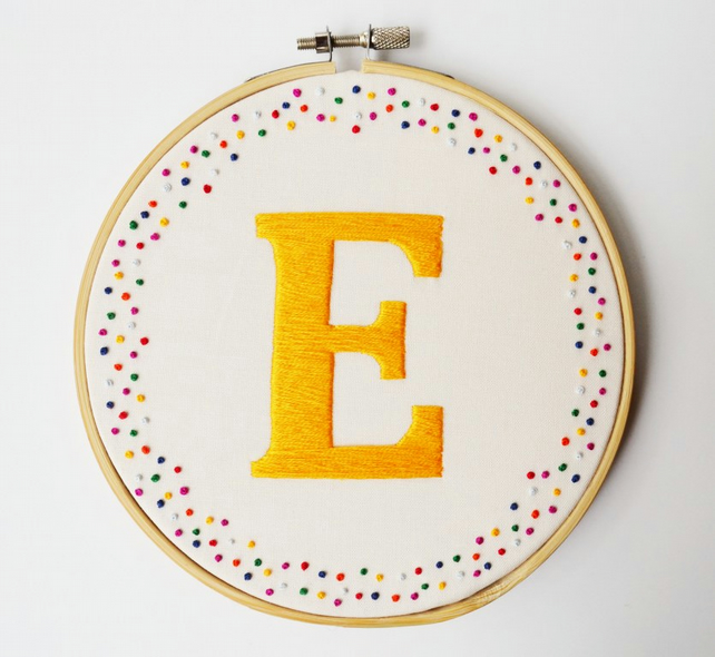Personalised Custom Letter Embroidery Hoop Art (Choose your own colours)