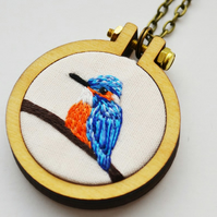 Kingfisher Necklace Miniature Hand Embroidery Hoop