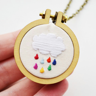 Rainbow raindrop cloud hoop necklace Hand Embroidery