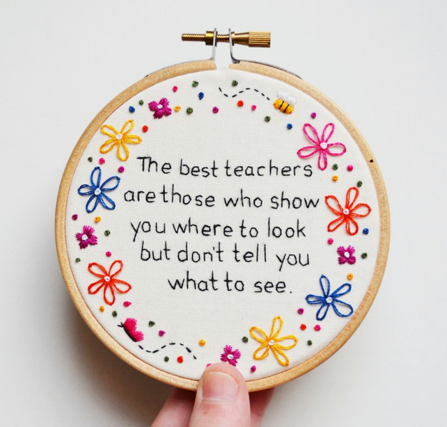 Hand Embroidery Hoop Art Teacher Quote Gift