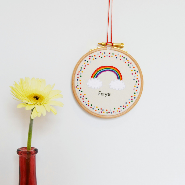 Personalised Name Rainbow Hand Embroidery Hoop Art