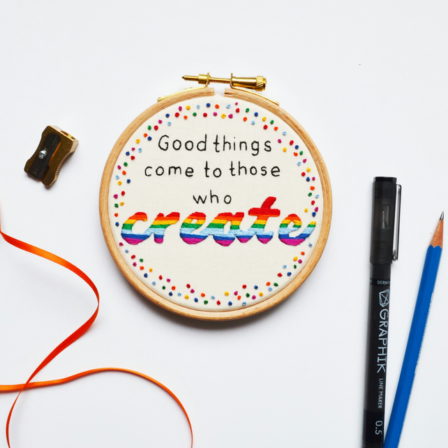 "Hand Embroidery Hoop Wall Art ""Good things come"" Rainbow"