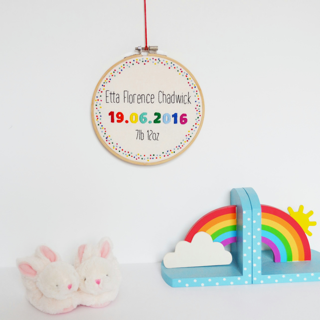 Personalised New Baby Hand Embroidery Hoop Art 6 Inch