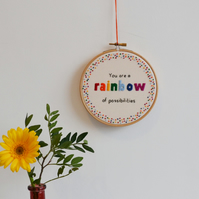 Rainbow Hand Embroidery Quote Hoop Wall Art 5 inch 'You are a rainbow'