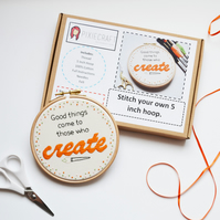"Embroidery Hoop Art Kit. Stitch your own ""Good things come to those who create"""