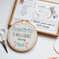 "Embroidery Hoop Art Kit. Stitch your own ""Creativity is Intelligence having fun"""
