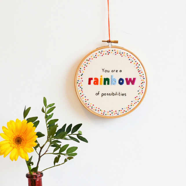 Rainbow of Possibilities Hand Embroidery Inspirational Quote Wall Art