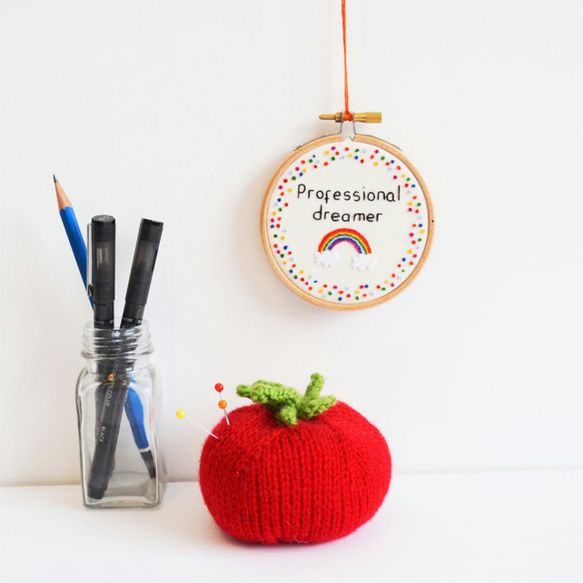 Miniature Hand Embroidery Hoop Art Professional Dreamer