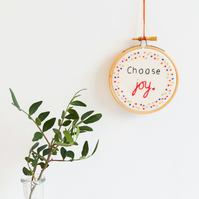 Choose Joy Miniature Hand Embroidery Hoop Art