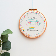 Tea Lover Hand Embroidery Hoop Art