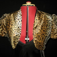 Fun 1950s style fake cheetah fur shrug or cropped jacket