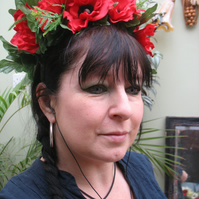 Large red anemone headdress headband