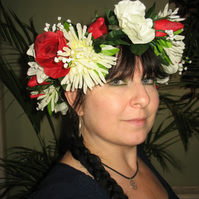 Lovely red rose, white rose and green dahlia floral headdress headband