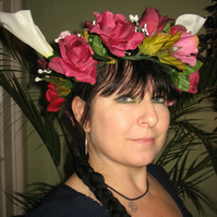 Beautiful opulent rose and arum lily headdress headband