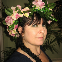 Opulent large pink rose and hydrangea headdress headband