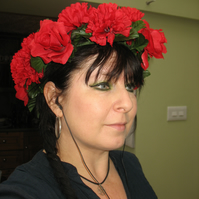 Pretty bright red carnation and rose headdress headband