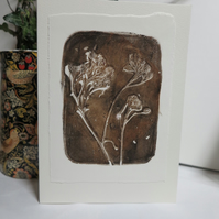 Nature inspired leafy monoprint greetings card
