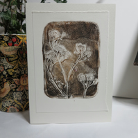 Nature inspired monoprint plate greetings card
