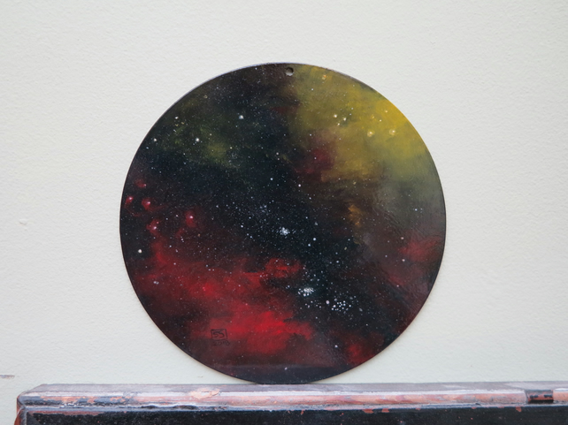 Celestial sky oil painted round panel